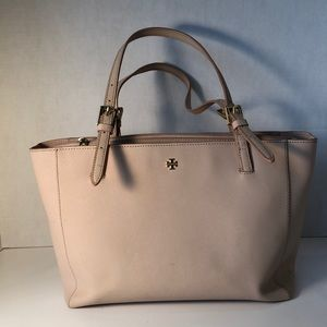 Tory Burch triple compartment shell pink tote
